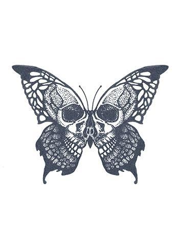 Tattooed Now! - Skull Butterfly