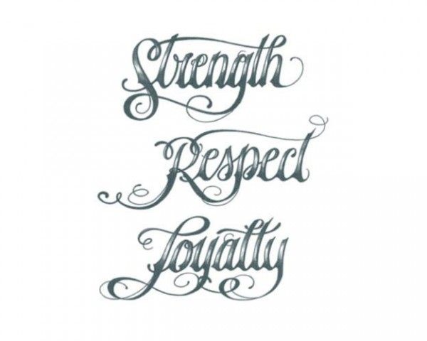 Tattooed!Now! Strenght Respect Loyalty Script